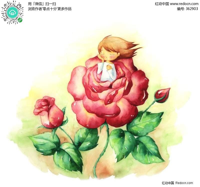 坐在玫瑰花的小女孩漫画 PS绘制卡通人物下载