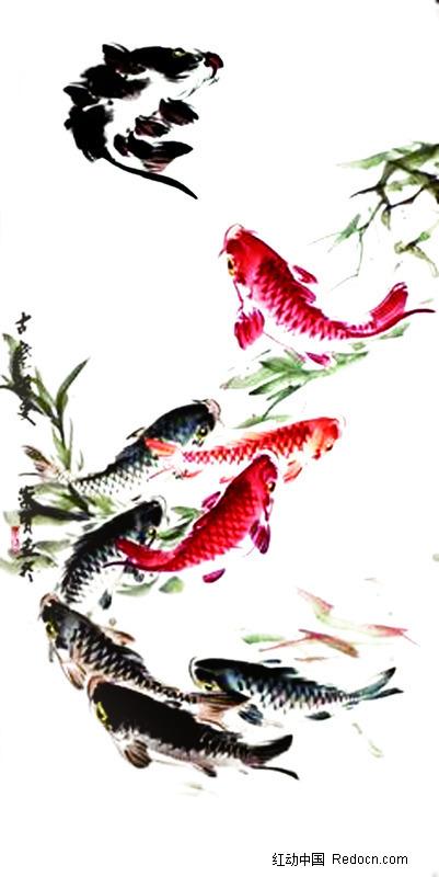 水墨画鱼psd素材(编号:364796)图片