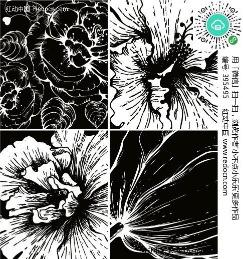 黑白花卉版画手绘矢量图 编号 395495