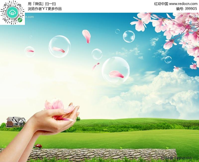 花瓣、美丽大自然PSD编号:399905 风景