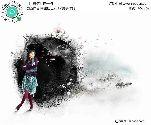 水墨前的女孩插画设计图片