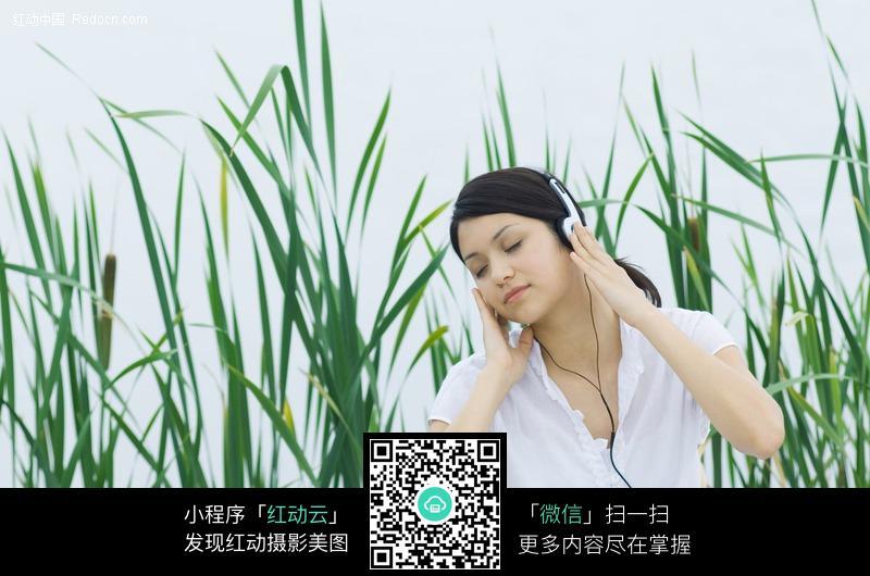 闭眼听音乐的美女图片编号:479761