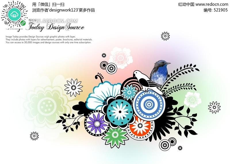 圆形花卉图案适合纹样 黑白花卉适合纹样图案 适合纹样图-黑白传统图片