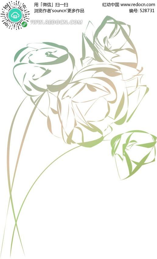 玫瑰抽象花朵矢量图_裕安图片网