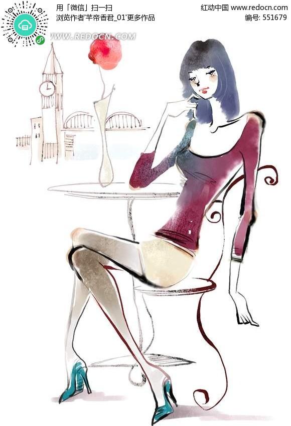 简笔插画休息花瓶椅子女孩手绘-简笔日记手绘插画图片大全 可爱手绘