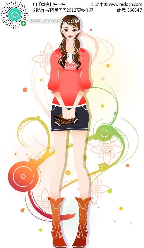 青春可爱女孩插画