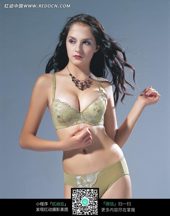 绿色透明内衣套装美女模特图片