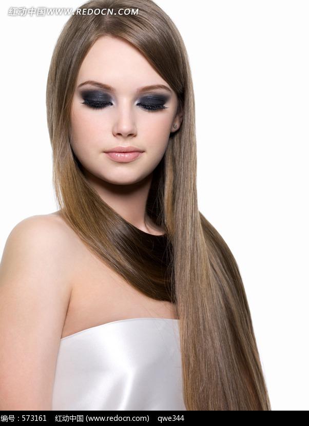 烟熏妆披肩长发美女图片 人物图片素材|图片库