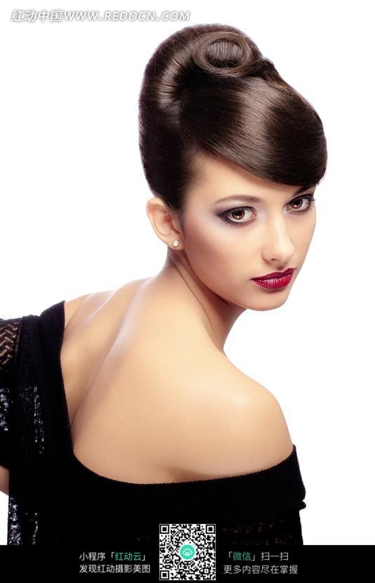 耳钉盘头盘发模特美女图片女人女性摄影图片人物素材