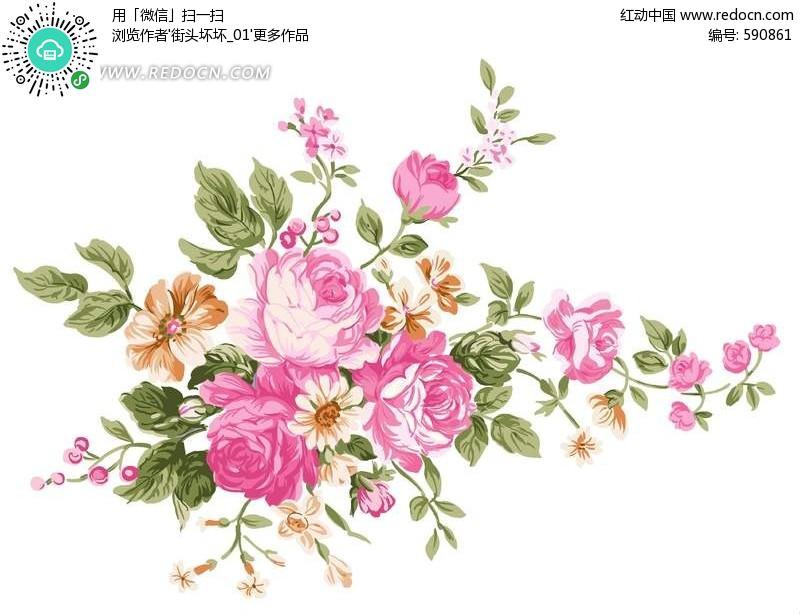 手绘粉红色玫瑰花与花蕾叶子_花纹花边: sucai.redocn.com/psd/2012-06-30/590861.html