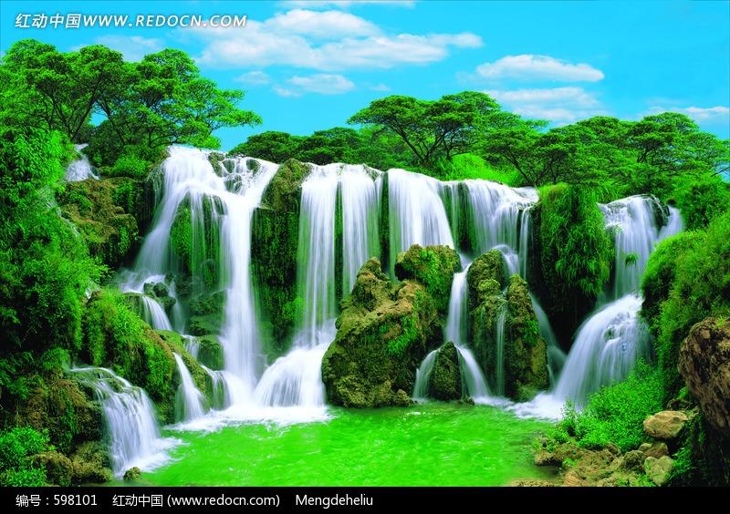 绿色山水瀑布图片图片-风景图