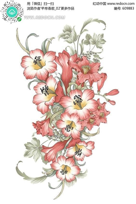 喇叭花手绘画_手绘牵牛花陶瓷花样植物花草设计素材设计