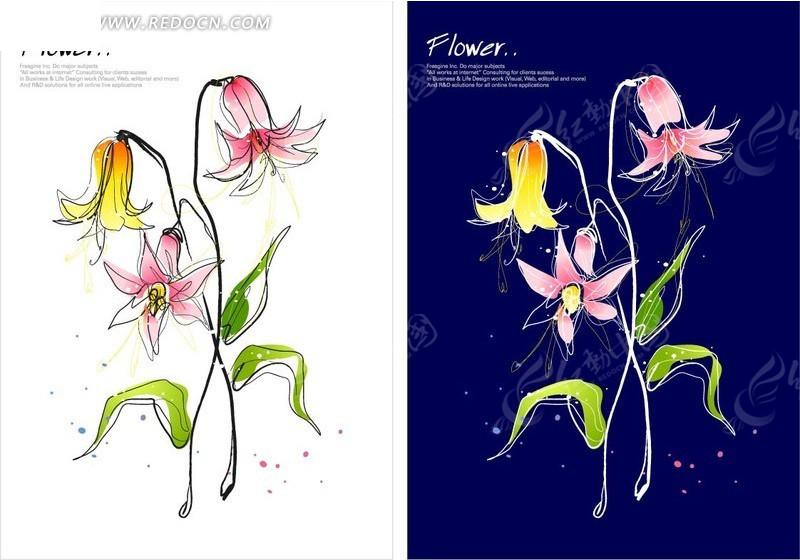 时尚花卉插画 矢量花纹 矢量花边素材下载 617181