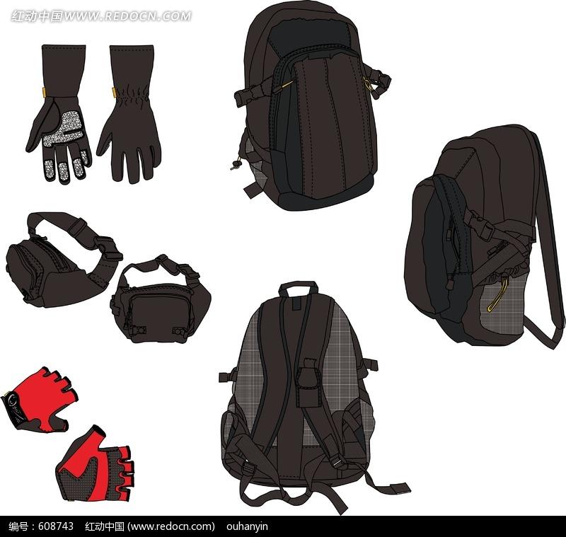 腰包 手套设计图片