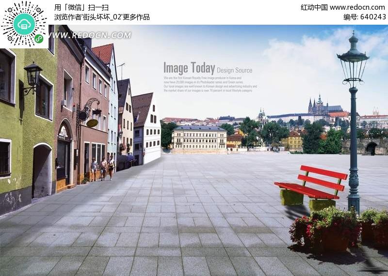 外国城市广场风光(编号:640243)_风景_PSD分