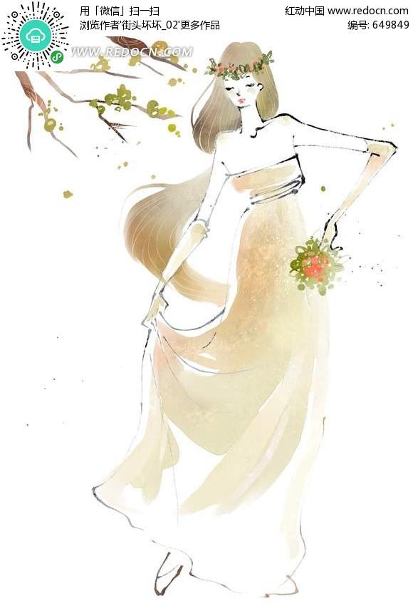 关键词:手绘水墨在树下跳舞长裙女孩插画美女