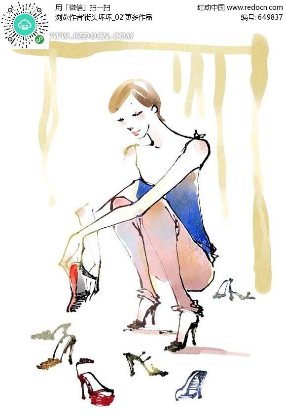 试穿鞋子的美女插画psd分层素材-ps绘制卡通人物下载