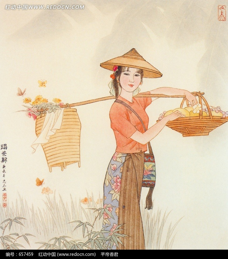 肩挑鲜花篮的带帽女孩插画jpg设计图片