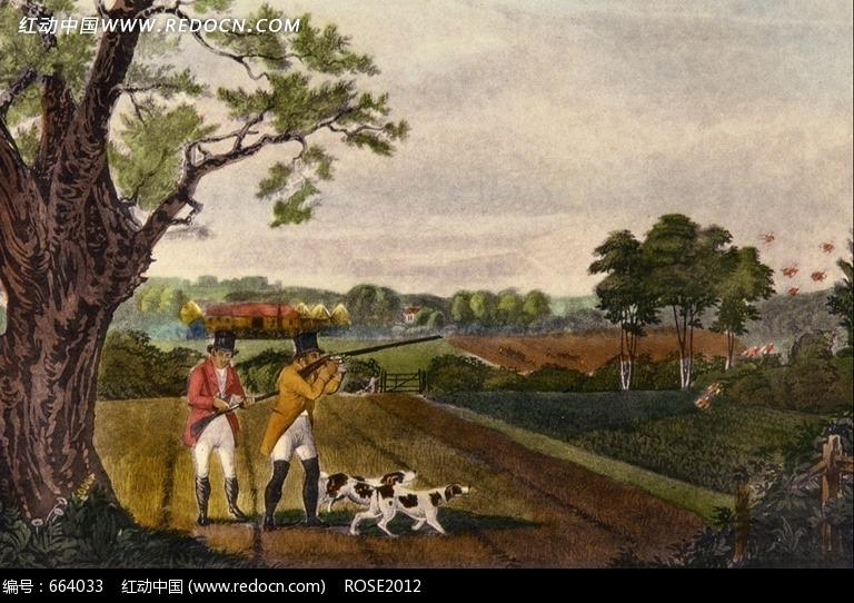 欧美绘画作品 大树下举打鸟的男子图片
