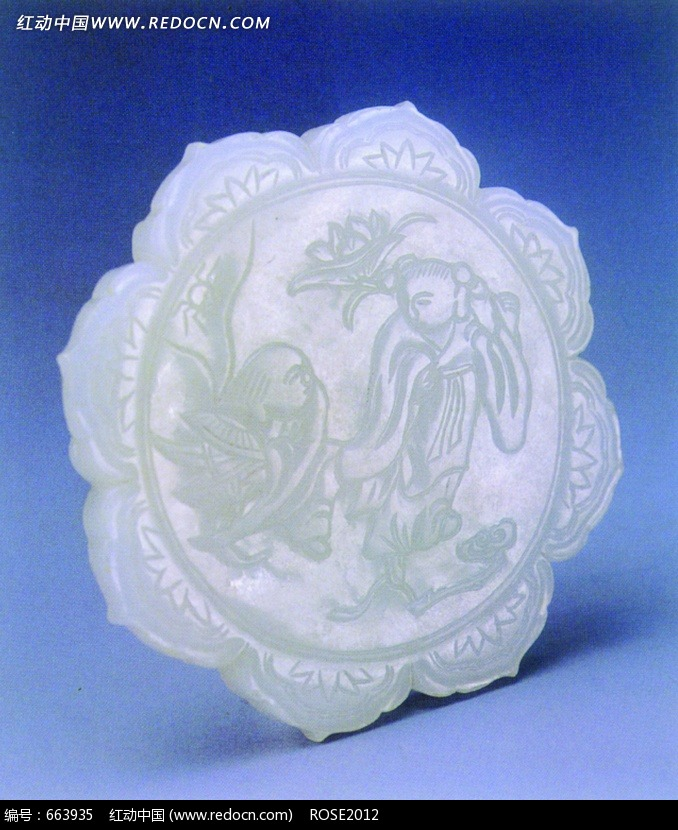 古代人物花纹玉器设计图片