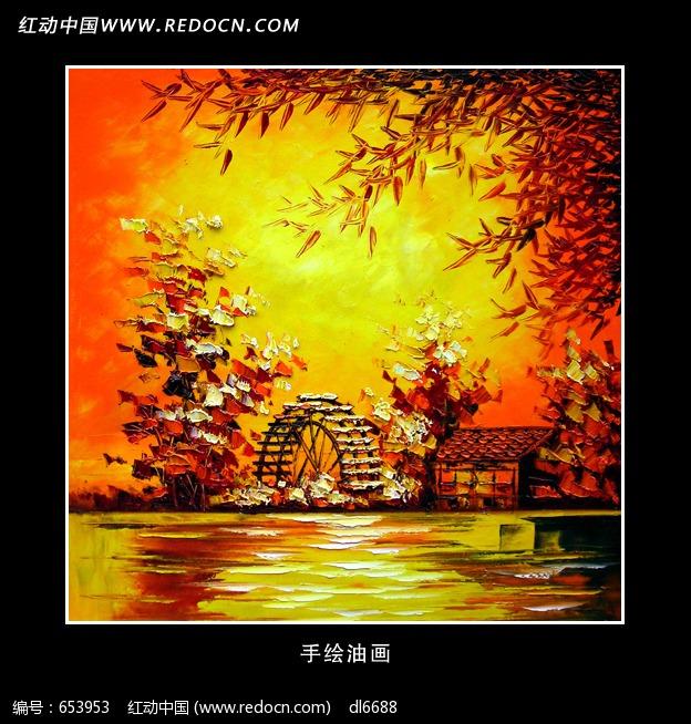 油画风景秋天枫树林图片 编号 653953 绘画