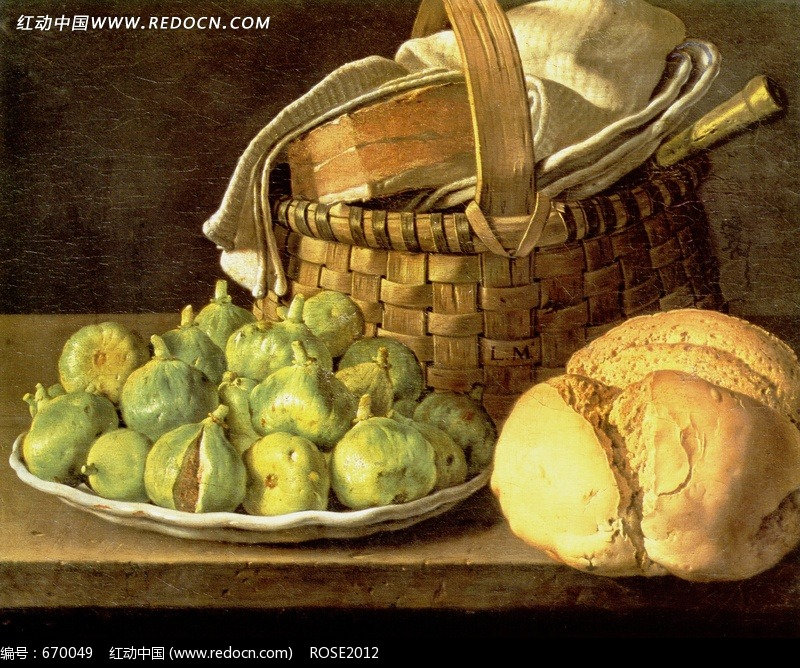 西方绘画 篮子和食物图片 传统书画 吉祥图案 艺术图片下...