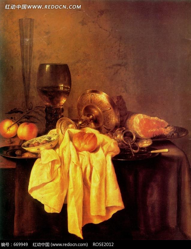 西方绘画作品 酒杯和桃子图片 传统书画 吉祥图案 艺术图...