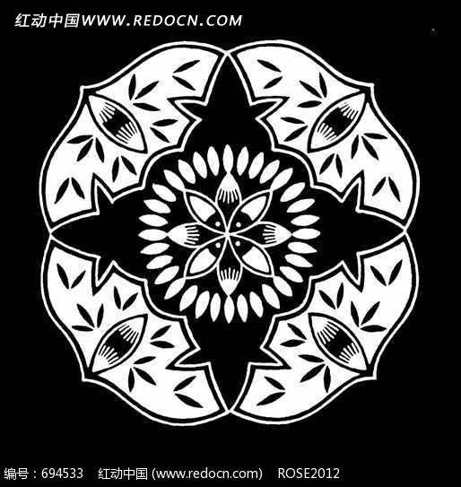 花朵 叶子拼成的圆形黑白图案图片