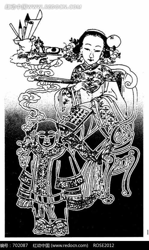 中国风花纹图案装饰艺术黑白花纹素材花边花边素材