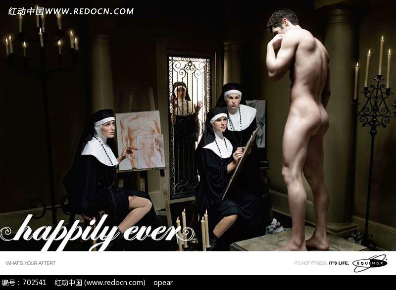 正在画画的修女和男模特图片图片 人物图片素