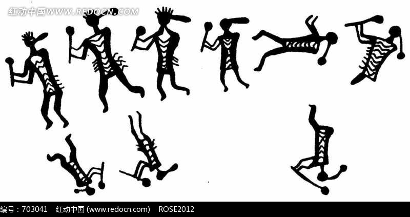古代花纹图案装饰艺术黑白
