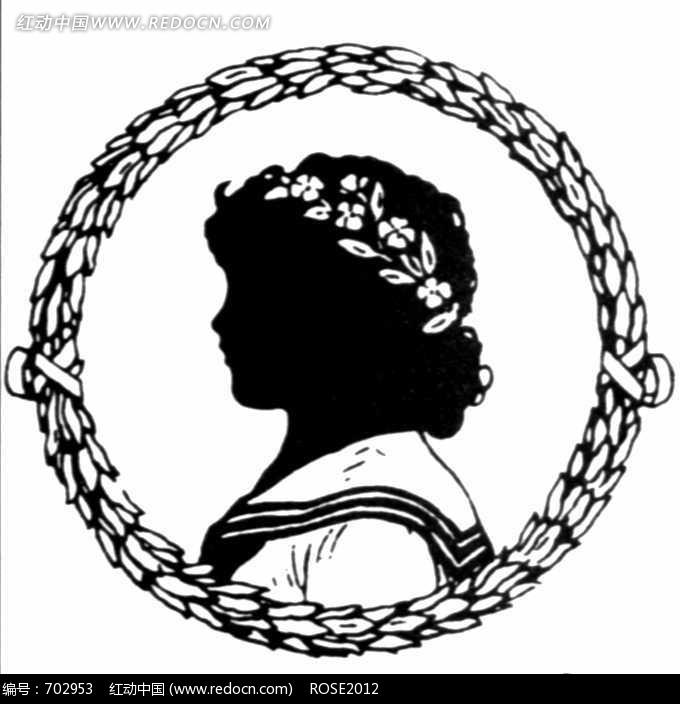 黑白图案花环中的少女头像图片 花纹|花边|线条
