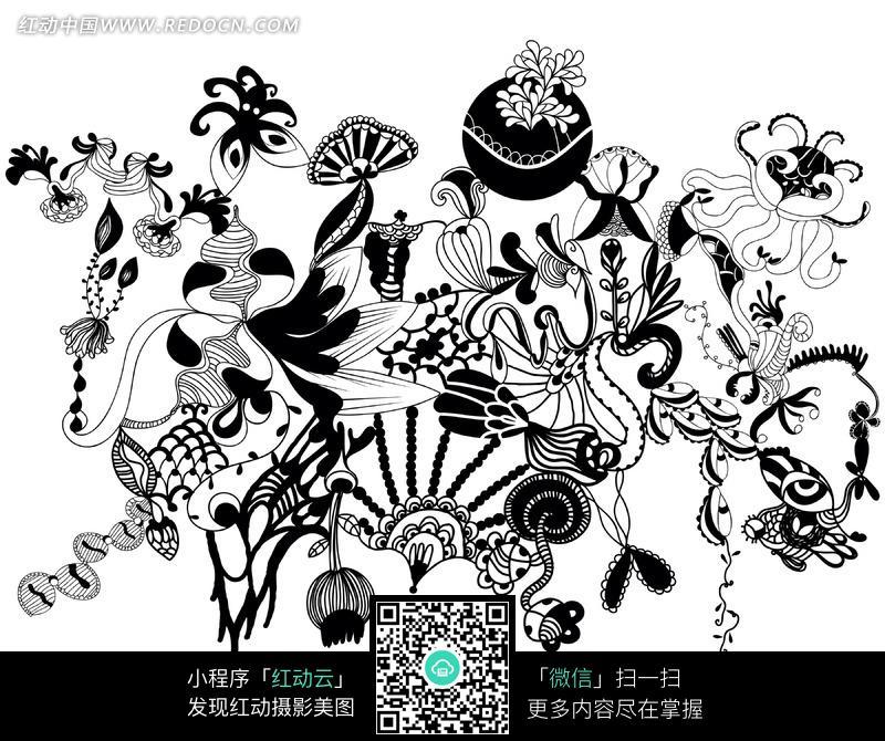 黑白创意花纹简笔画图案素材图片 703997 背景花边