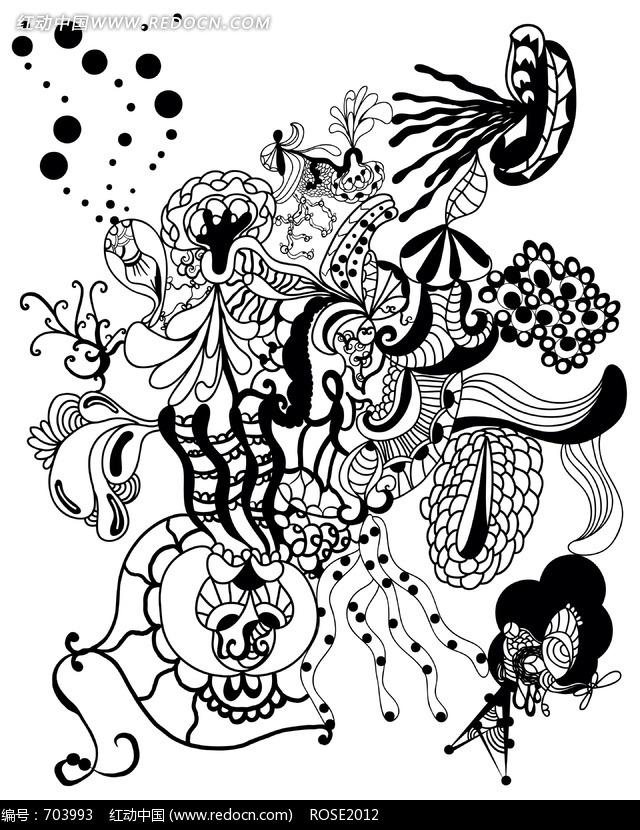 创意黑白插画手绘图片,黑白手绘创意插画,正负形创意黑白图片,
