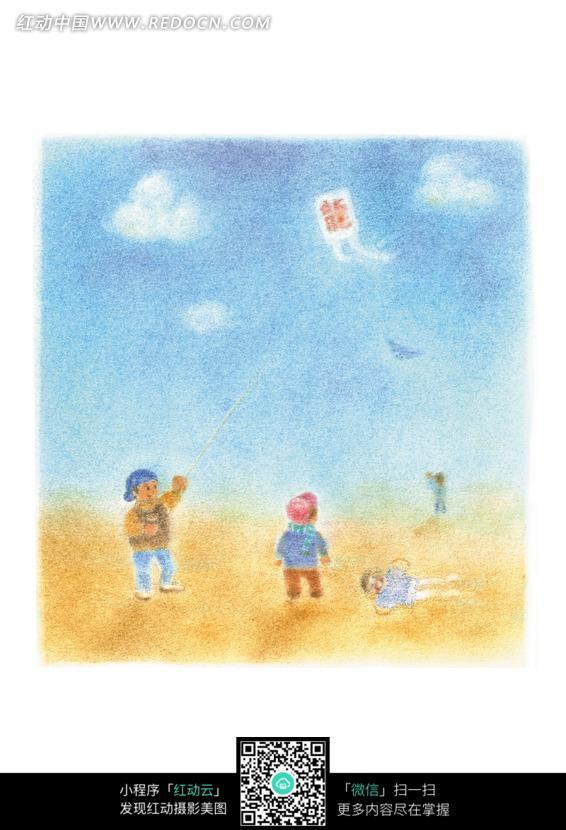 放风筝的男孩图片素材图片 724785 人物卡通 漫画插画图片