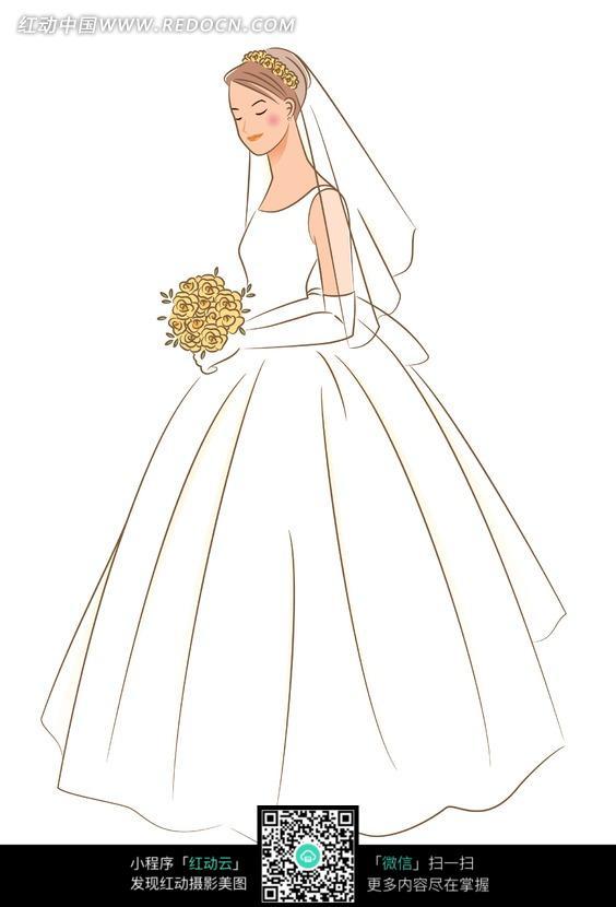 女子新娘白色婚纱拿花束带头纱白色背景卡通精美手绘