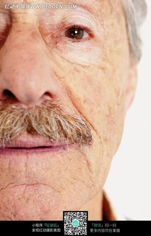 半个脸嘴微张眼睛呆视外国老人图片编号:719