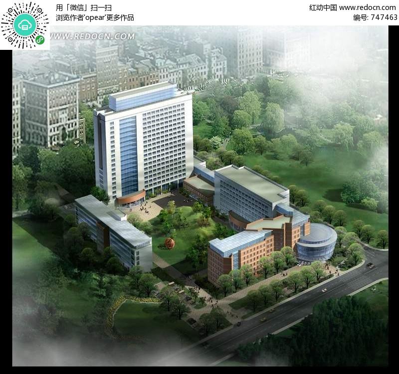 高层建筑俯视效果图PSD分层素材 园林 景观 素材 psd 编号 747463 -