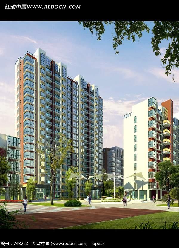 现代高层住宅楼效果图psd素材设计图片 高清图片