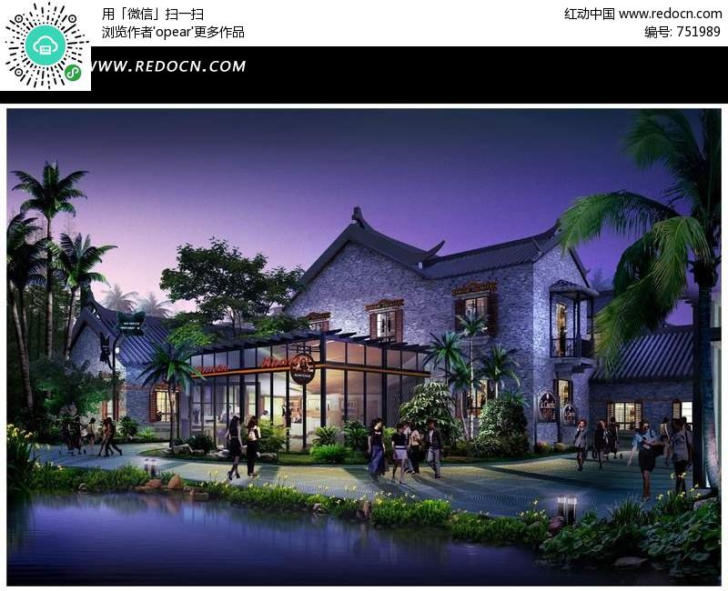 湖边中式餐馆建筑夜景效果图psd素材图片