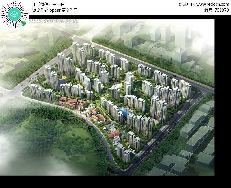 现代建筑群鸟瞰图效果图psd素材 园林 景观 素材 psd 下载 751979高清图片