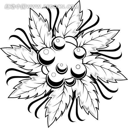 线描花卉黑白插画抽象装饰画圆形图片欣赏下载图片