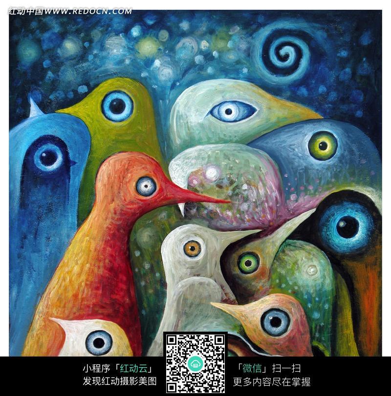 许多只鸟头和鸟的眼睛图片 编号 764537 书画文字 文化艺