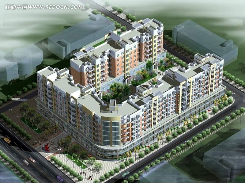 现代城市住宅区俯视效果图 园林 景观 素材 psd 编号 765487 -现代城市