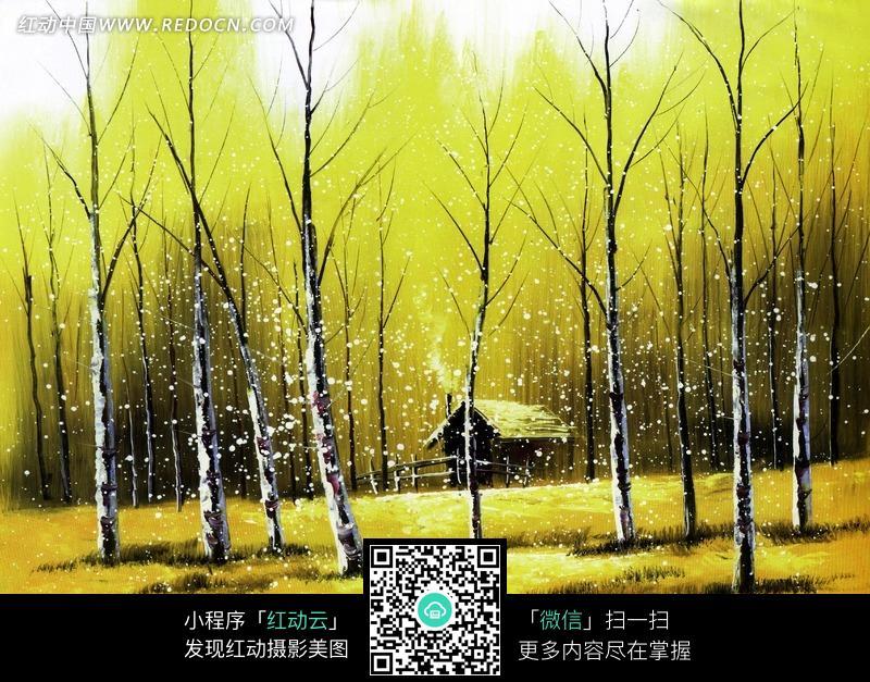 秋天树林里的小木屋油画设计图片图片