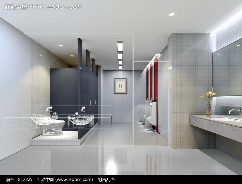 关键词 卫生间洗手间室内效果图宽敞公共男士 高清图片