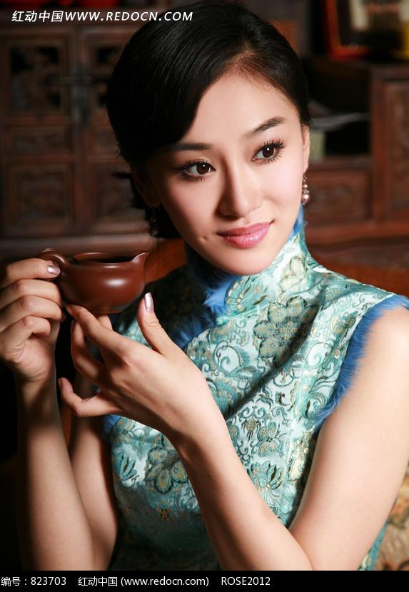 小茶壶的旗袍美女图片 人物图片素材|图片库|图库