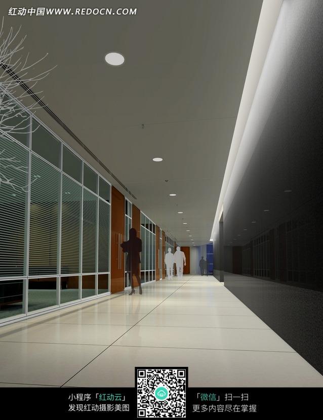 白色地砖的走廊效果图图片高清图片