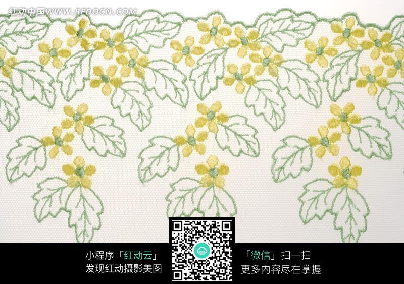 黄花绿色图案的纱布料图片