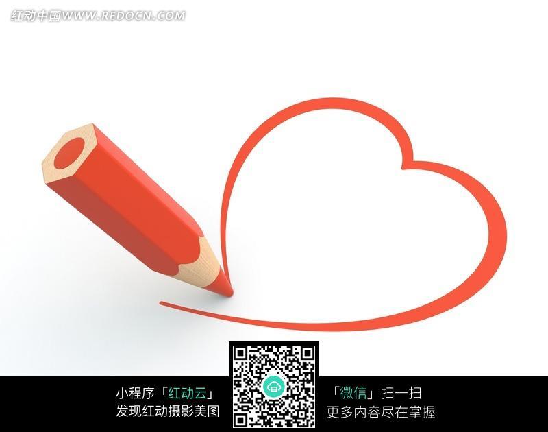 红色笔画出来的心形图案图片 856547